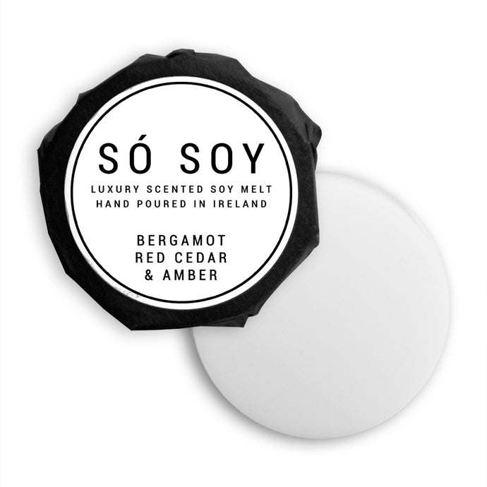Bergamot, Red Cedar & Amber Wax Melt - Só Soy Candles