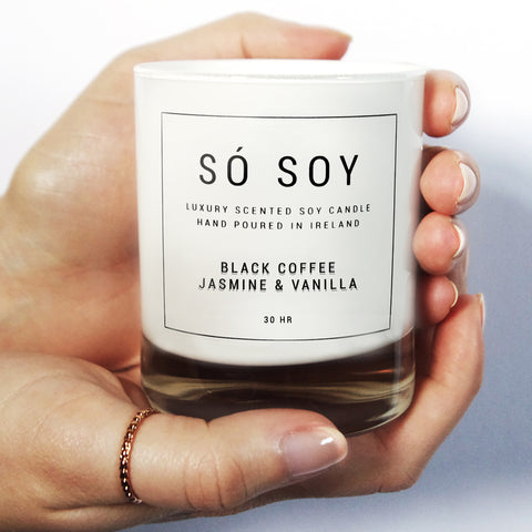 Medium Black Coffee, Jasmine & Vanilla - Só Soy Candles