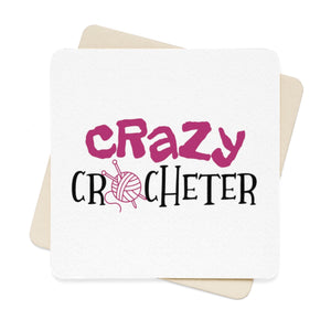 Crazy Crocheter Square Paper Coaster Set - 6pcs