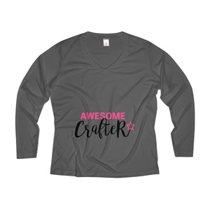 Awesome Crafter Long Sleeve Performance V-neck Tee