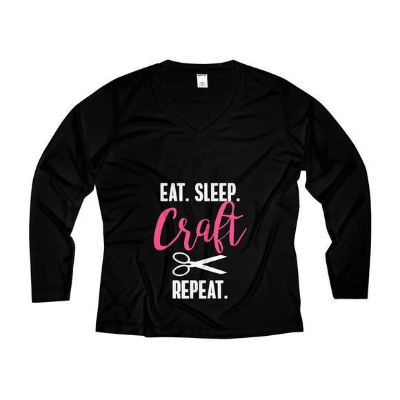 Eat Sleep Craft Repeat Women's Long Sleeve Performance V-neck Tee