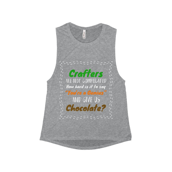 Crafters Are Not Complicated Women's Flowy Scoop Muscle Tank