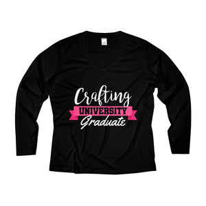 Crafting University Graduate Women's Long Sleeve Performance V-neck Tee