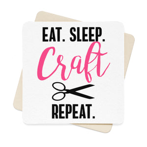 Eat Sleep Craft Repeat Square Paper Coaster Set - 6pcs
