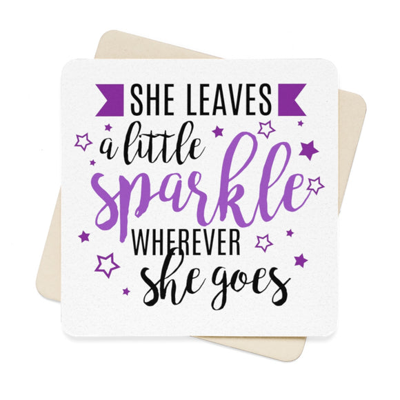 She Leaves A Little Sparkle Wherever She Goes Square Paper Coaster Set - 6pcs