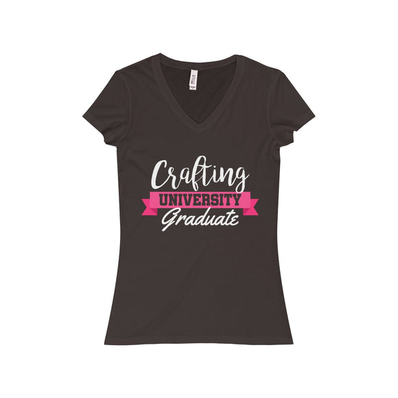 Crafting University Graduate Women's Jersey Short Sleeve V-Neck Tee