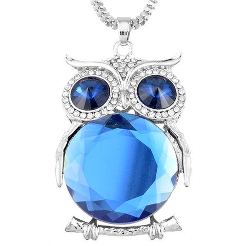 2018 Cute Owl Pendant Necklace Rhinestone Crystal Snake Chain for women