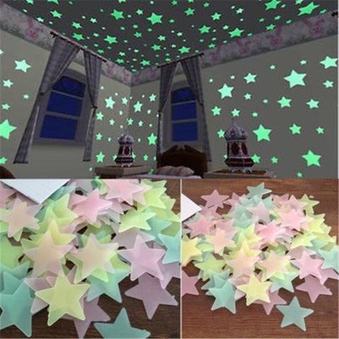 100PCS/lot Glow in Dark Fluorescent Star 3D Wall Stickers Decals for Kids Room