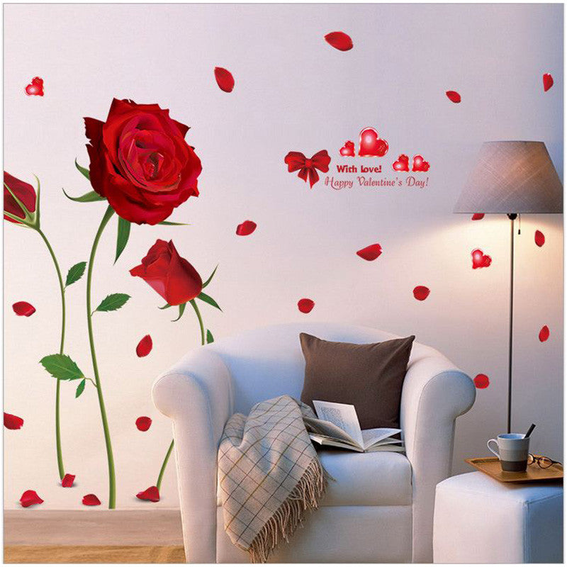 Removable waterproof Wall Stickers Home decor Red roses living room,  bedroom decorative stickers