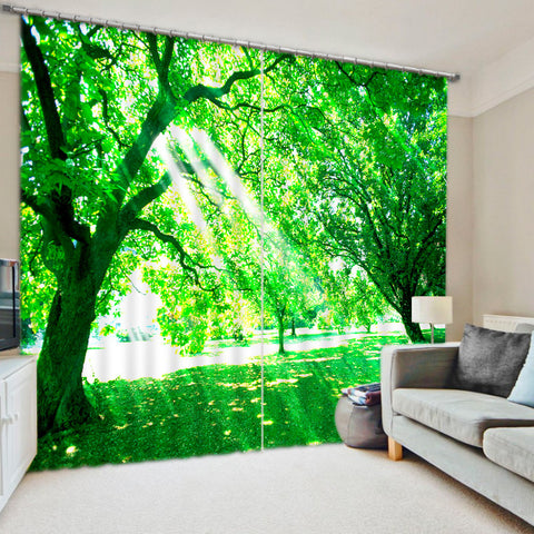 Sunshine Through The Tree Bedroom Living Room Kitchen Home Textile Luxury 3D Window Curtains