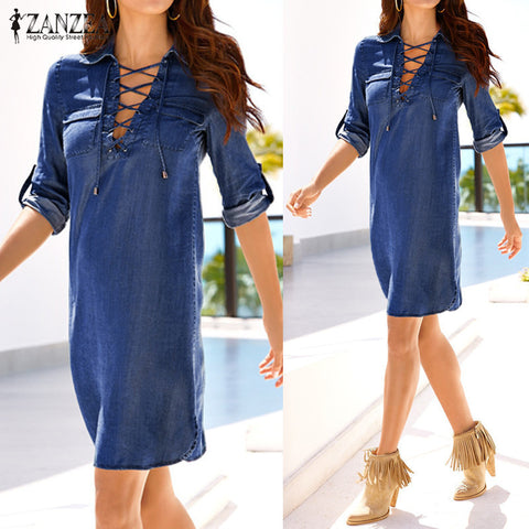 Women Mini Dress Long Sleeve Turn Down Collar Bandage Lace Up Dress
