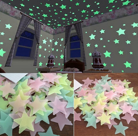 80PCS/lot Glow in Dark Fluorescent Star 3D Wall Stickers Decals for Kids Room