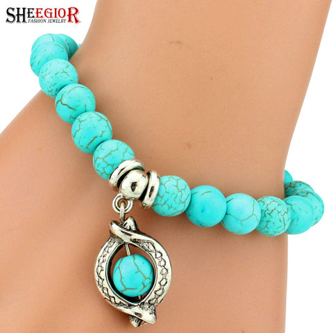 Blue Beads Love Bracelet Vintage Charm Bracelets & Bangles for men and women