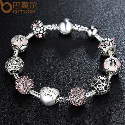 Antique 925 Silver Charm Bracelet & Bangle with Love and Flower Crystal Ball