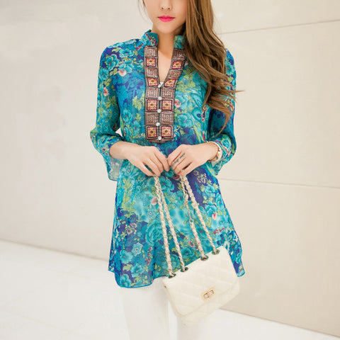Spring Summer floral V-neck Women Chiffon Embroidery Print Casual Indian Dress Red / Blue