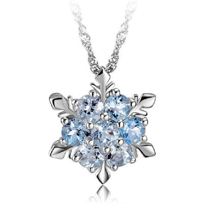 Blue Crystal Snowflake Frozen Flower 925 Silver Necklace Pendants With Chain