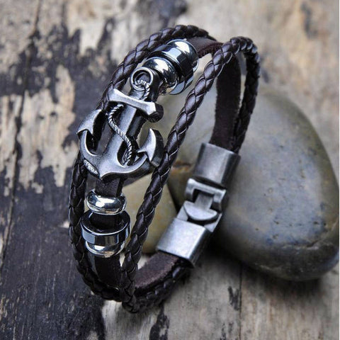 Men's Anchor Bracelet. Cool Leather and Metal Design