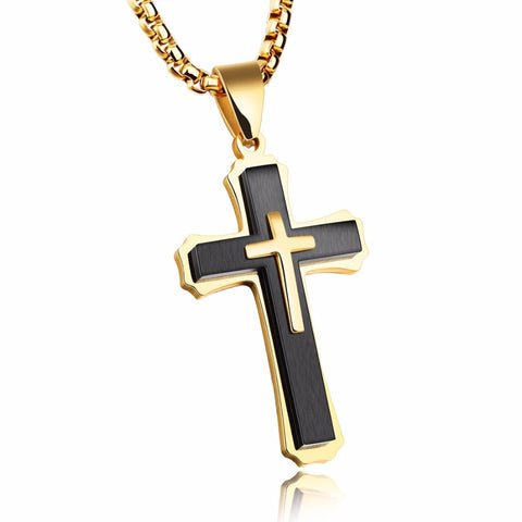 Christ Cross Men Necklace & Pendants Stainless Steel Chain