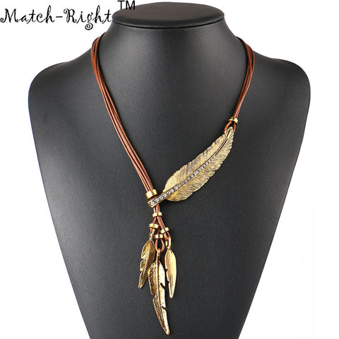 Match-Right Necklace Alloy Feather Statement Pendants Vintage