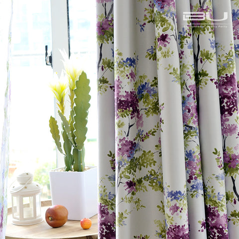 New Arrival Pastoral Style Purple Wisteria Printed Curtain Polyester Blockout Cloth