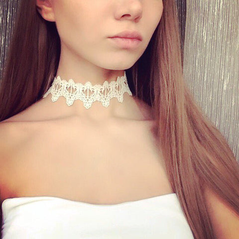Newest fashion accessories white & black Lace Tattoo choker necklace