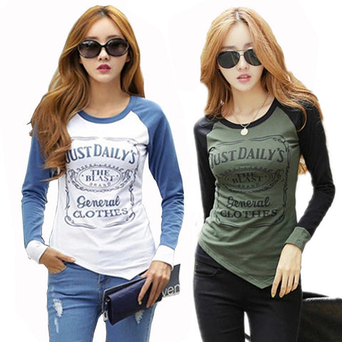 2018 Fashion T shirt Women Cotton Long Sleeve T-shirt  Patchwork Raglan Sleeve T-shirts
