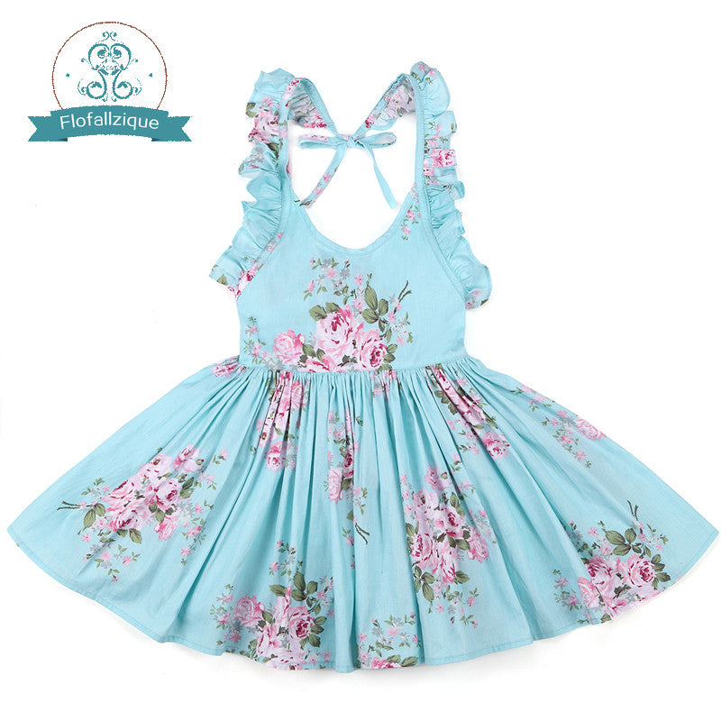 d955b8c983bf Baby Girls Dress Summer Beach Style Floral Print Party Backless Dress