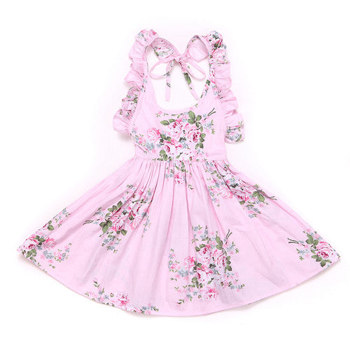 1a9ab83431e25 Baby Girls Dress Summer Beach Style Floral Print Party Backless Dress