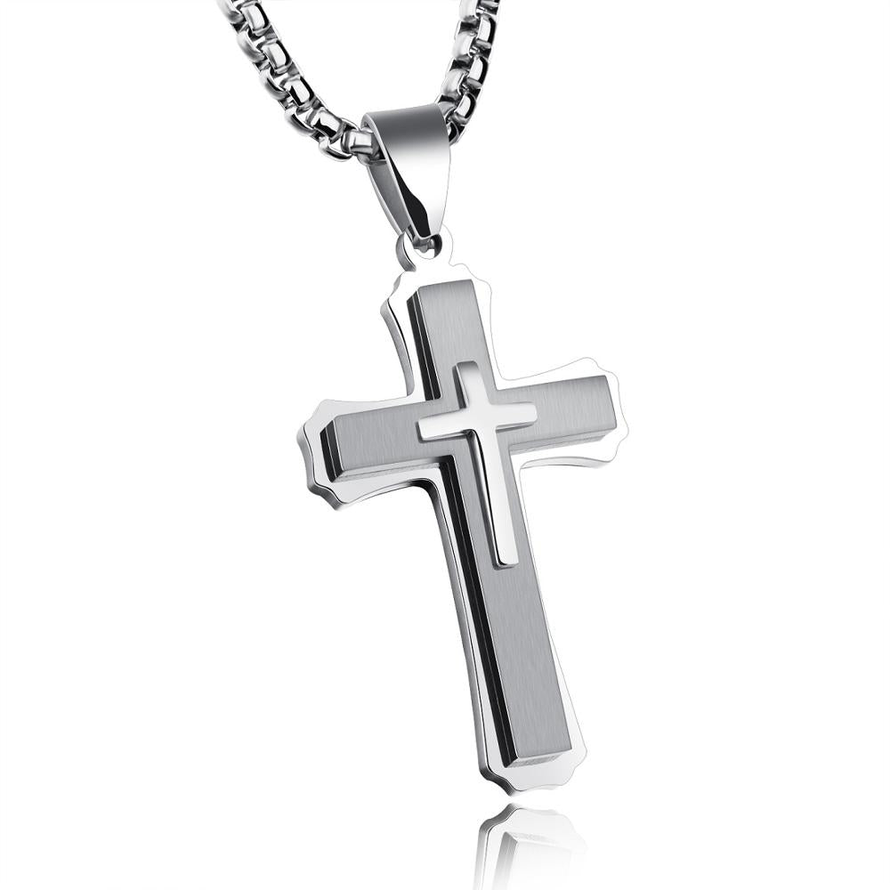 Christ cross men necklace pendants stainless steel chain chikaboma christ cross men necklace pendants stainless steel chain aloadofball Images