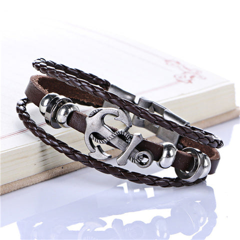 Cool Leather Woven Anchor Charm Bracelet Vintage for men and women