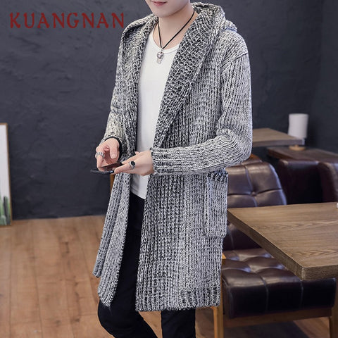 Solid Long Cardigan Men Overcoat Sweater Knit Winter Hooded