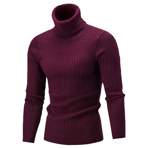 New Autumn Winter Men'S Sweater Turtleneck Solid Color Casual Slim Fit Knitted Pullover