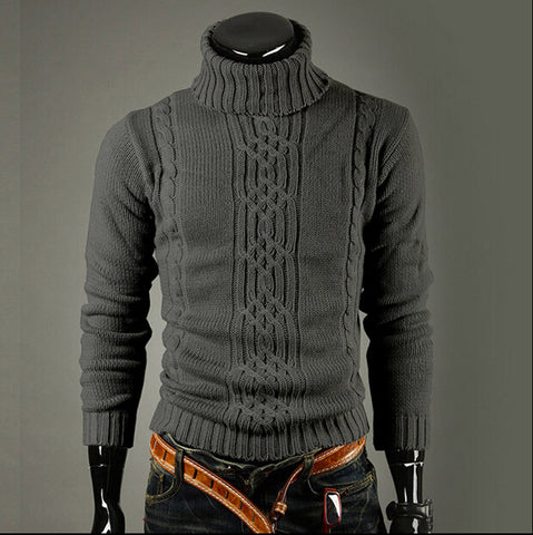 Men's Pullover Sweater for Winter Casual Slim Solid High Lapel Jacquard Hedging