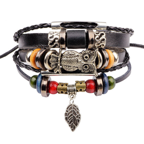 Vintage Rope Handmade Bead Woven Owl Leather Bracelets for Men & Women Fashion