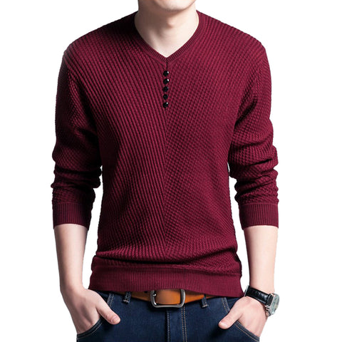 Fashion Sweater Men Casual V-Neck Button Pullover Autumn Slim Fit Long Sleeve