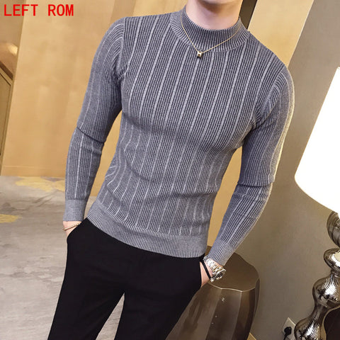 Casual Men Solid Color Comfortable Mens Christmas Sweater Round Neck Slim Fit