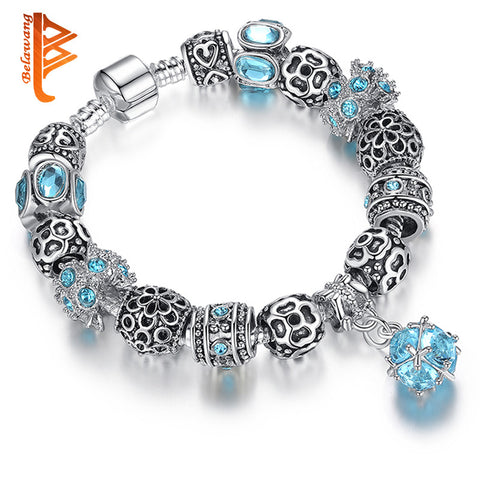 European Authentic BEADS jewelry silver plated owl beads pink/white crystal Charm bracelet for women