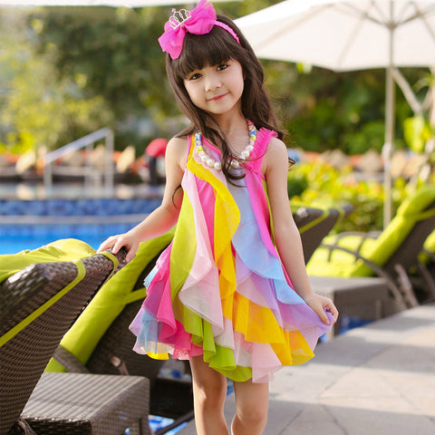 2018 baby girls rainbow dress summer style