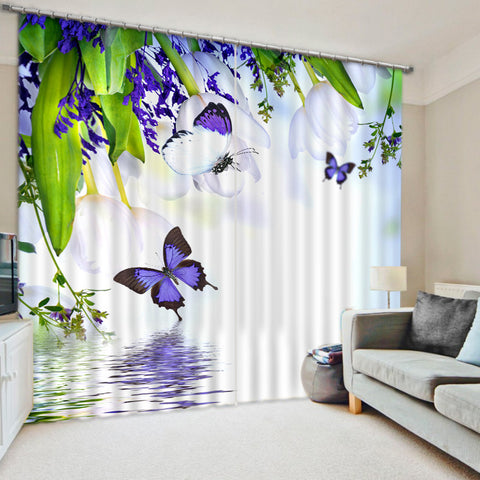 2018 3D Curtain Plant Flowers and Butterflies Printed Thicken Cloth for Living Room