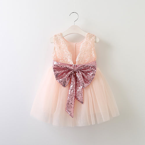 lace and bow flower girl dress