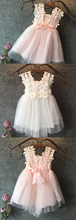 lace flower girl dress in white and pink