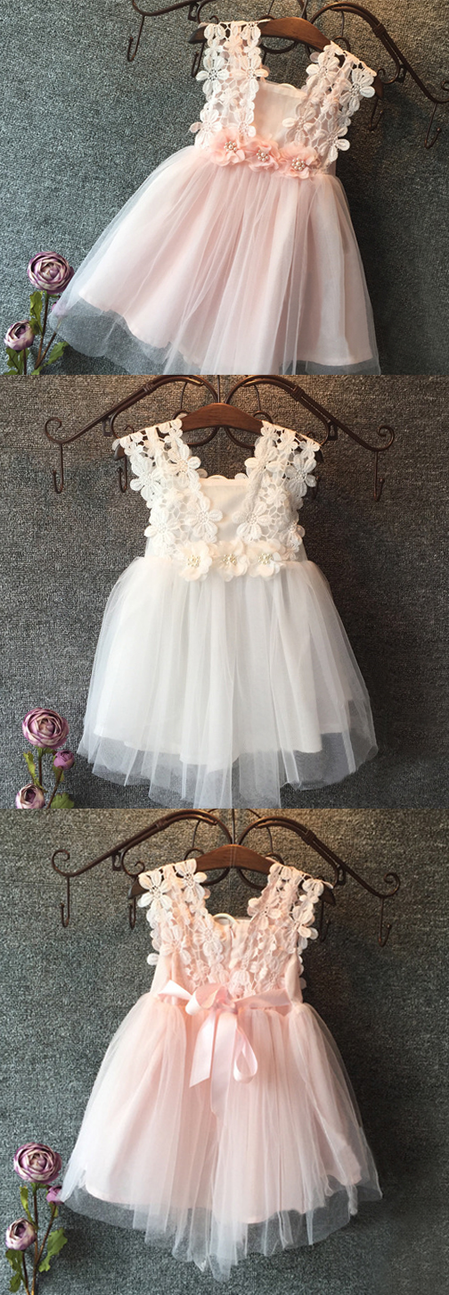 The zoe flower girl dress pop sparkle lace flower girl dress in white and pink mightylinksfo