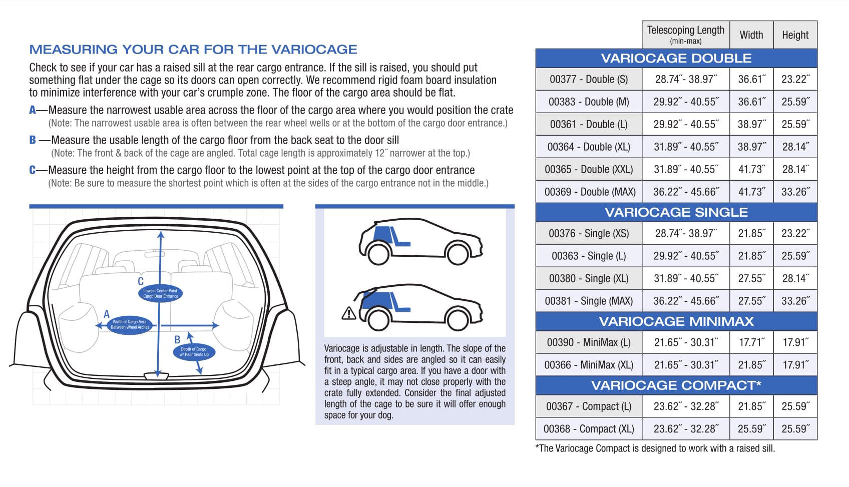 Variocage Vehicle Measuring Instructions