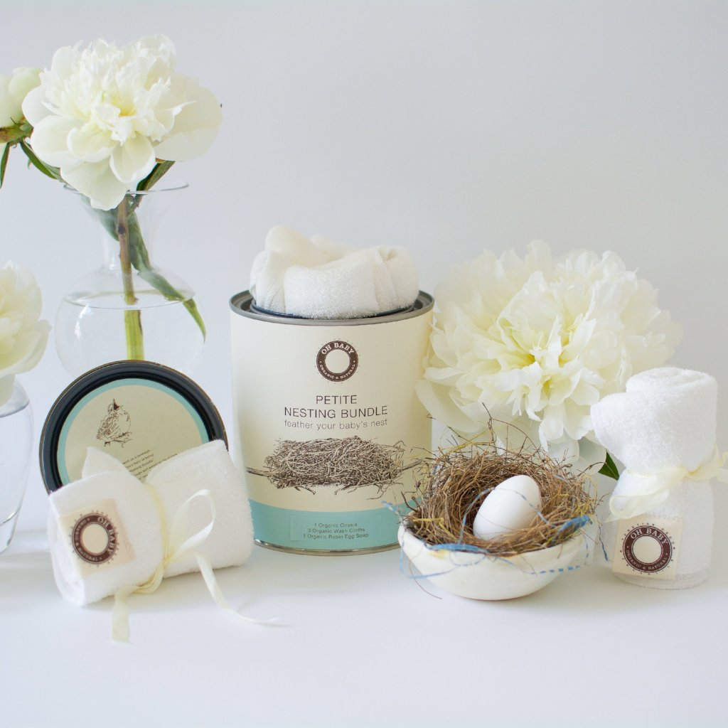 "Petite Nesting Bundle #2   Onesie, Three Washcloths and a Robins egg soap ""Unprinted"""