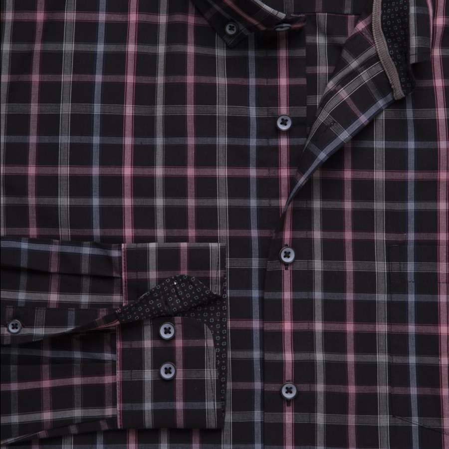"Ανδρικό Πουκάμισο ""Plaid Renegate"" Redmond-BLACK-M-kmaroussis.gr"
