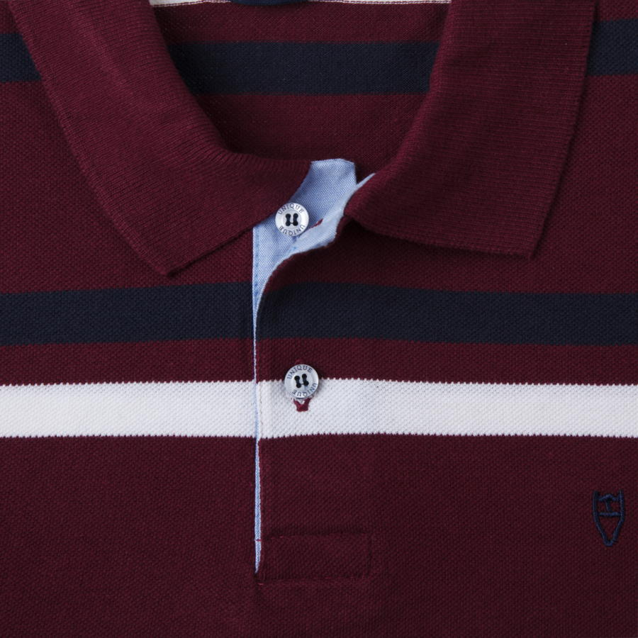 "Ανδρική Μπλούζα Polo ""White Airoplane"" Unique-BURGUNDY-M-kmaroussis.gr"