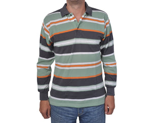 "Ανδρική Μπλούζα Polo ""Casual Stripes"" Faketti-GREEN-M-kmaroussis.gr"