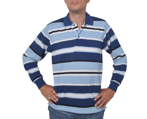 "Ανδρική Μπλούζα Polo ""Casual Stripes"" Faketti-LIGHTBLUE-M-kmaroussis.gr"
