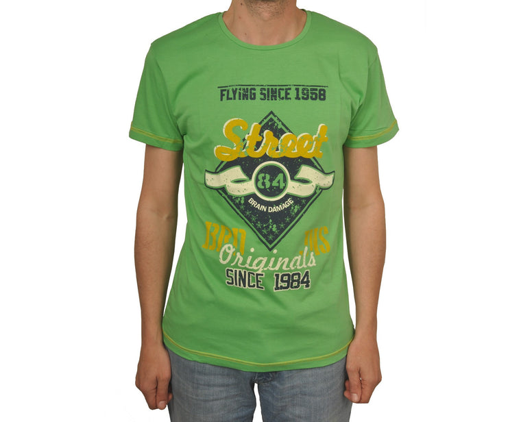 "Ανδρική Μπλούζα T-Shirt ""Street"" Brain Damage-GREEN-S-kmaroussis.gr"