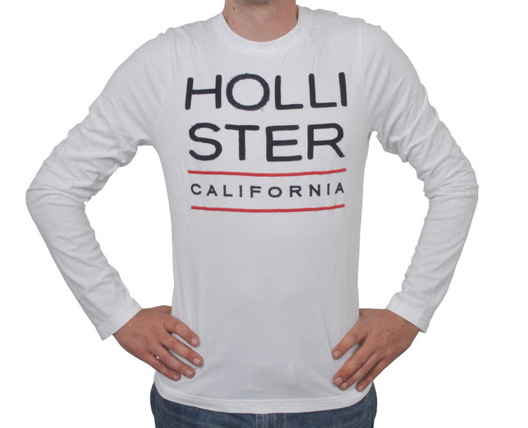 "Ανδρική Μπλούζα T-Shirt ""California"" Hollister-WHITE-M-kmaroussis.gr"